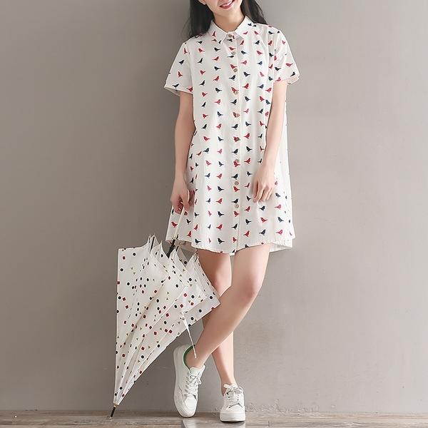 森女系洋裝 森女日系棉麻開衫襯衣裙女夏裝新款小清新中長款印花短袖連身裙子-Ballet朵朵