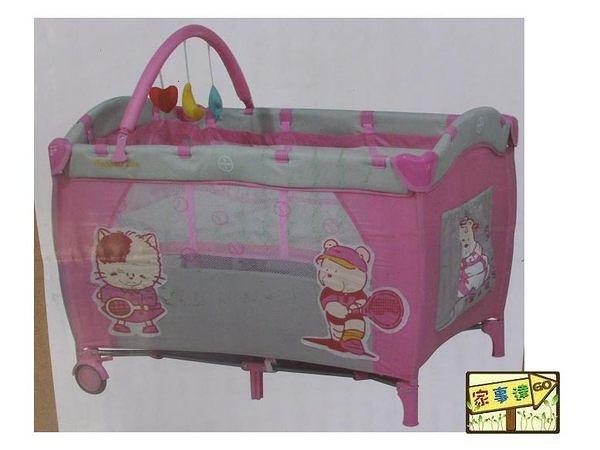 [家事達] Mother's Love-  CL20  雙層遊戲床-粉色 內附蚊帳、上層架、玩具架
