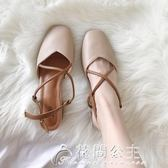夏季新款奶奶鞋中跟復古方頭交叉女鞋包頭涼鞋女夏粗跟高跟鞋花間公主