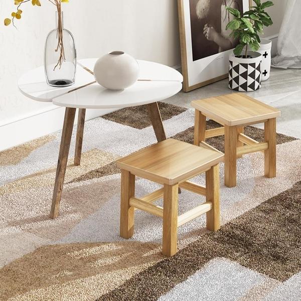 小木凳家用實木方凳靠背椅子客廳經濟型加厚板凳圓凳子換鞋矮凳 晴天時尚