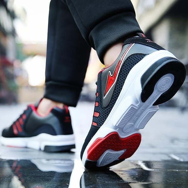 運動鞋 運動鞋男韓版潮流休閒鞋低幫透氣百搭繫帶跑步鞋皮面防水防滑學生 裝飾界 免運