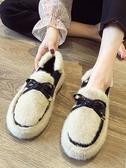 毛毛鞋 豆豆鞋女冬外穿2019冬季新款羊羔毛百搭豆豆冬款加絨平底鞋子【免運】