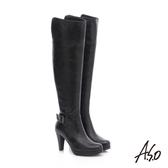 A.S.O 保暖靴 真皮雙色感釦飾拉鍊長靴  黑