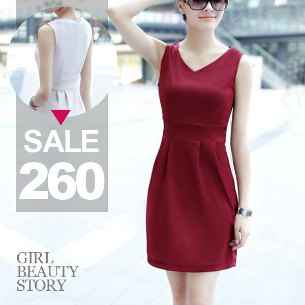 SISI【D4020】韓版素面簡約風 V領純色百搭顯瘦縮腰無袖連身裙 腰身裙擺背心洋裝
