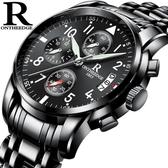 手錶 男 男士手錶運動石英錶 防水時尚潮流夜光精鋼帶男錶機械腕錶-凡屋