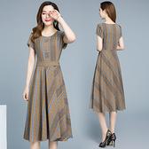 棉麻洋裝 四五十歲中年貴夫人媽媽棉麻連衣裙顯瘦長裙2021新款夏天遮肚減齡 歐歐