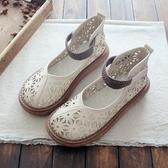 娃娃鞋 夏季棉麻舒適百搭娃娃鞋森女文藝復古禪意鏤空包頭厚底大頭鞋涼鞋 雙12狂歡