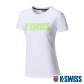 K-SWISS Contrast Logo Tee棉質吸排T恤-女-白