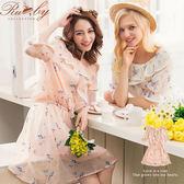 洋裝 滿版碎花荷葉邊短袖洋裝-杏色-Ruby s 露比午茶