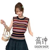 EASON SHOP(GW5422)實拍撞色彩虹橫條紋短版露肚臍圓領無袖針織背心女上衣服彈力貼身內搭衫閨蜜裝