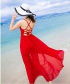 雪紡洋裝 巴厘島沙灘裙新款 海邊度假超仙波西米亞小心機露背連身裙  店慶降價