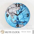 時鐘 地球大陸版塊世界地圖造型無框靜音掛鐘 牆面設計現代科學男孩裝擺飾創意時鐘-米鹿家居