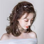 新娘頭飾  新娘發箍頭飾耳環套裝新款韓式森繫仙美發飾婚紗禮服發帶配飾 coco衣巷