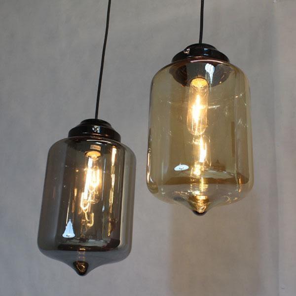 工業風微透吊燈─高29直徑17─E27X1─AGH263三色可選半透琥珀色、半透鏡面色、透明色