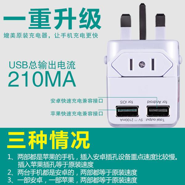 全球通用轉換插頭出國便攜旅行電源轉換器插座英歐美澳標雙USB充電口