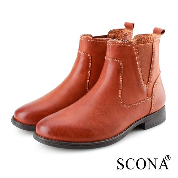 SCONA 蘇格南 真皮 率性單側鬆緊帶短靴 棕色 8799-2