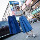 加肥加大尺碼絲棉闊腿褲女超薄款高腰牛仔褲七分褲子