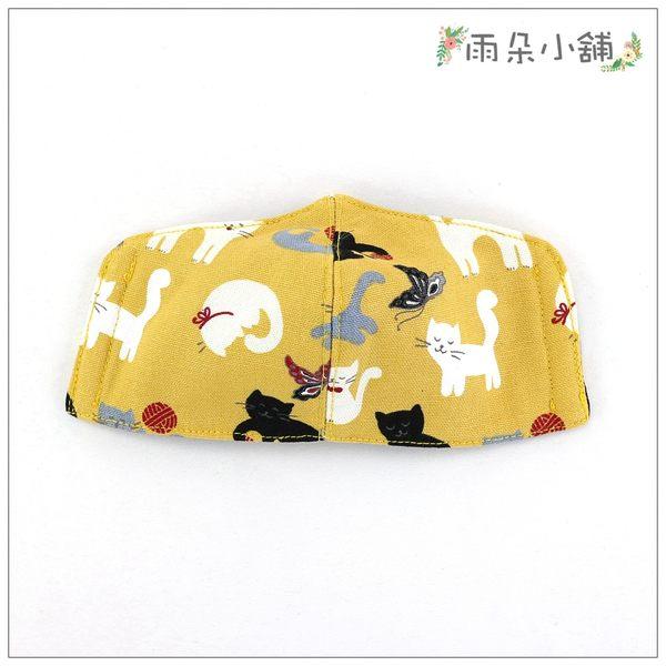 布面口罩 包包 防水包 雨朵小舖N087-022 布面小童中車口罩-黃線球笑笑貓10089 funbaobao