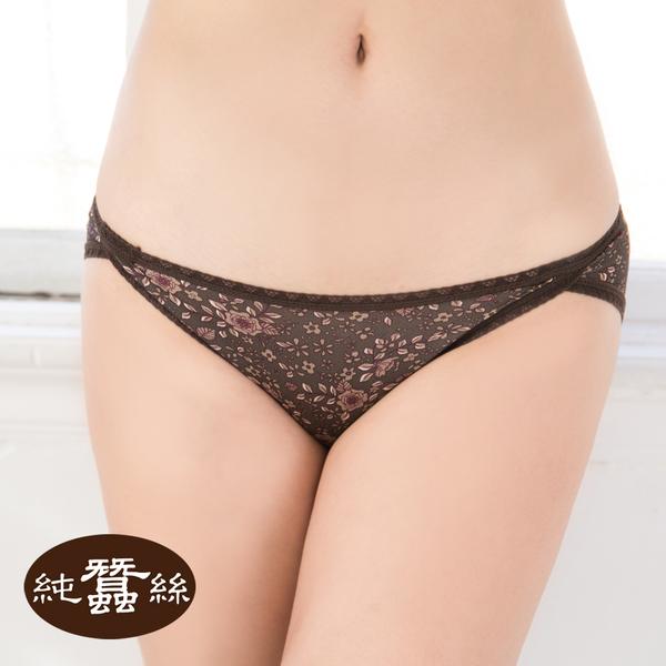 【岱妮蠶絲】HA029A4印花中低腰開衩三角蠶絲內褲(咖啡小花)