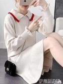 學院風減齡娃娃領針織連身裙秋裝年新款寬鬆大碼魚尾毛衣裙子 春季特賣