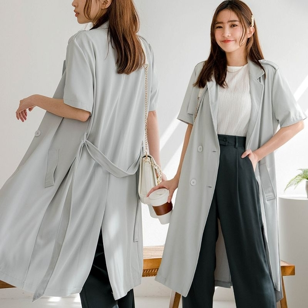 現貨-MIUSTAR 真心推薦!雙排釦附腰帶厚雪紡風衣式洋裝(共3色)【NJ1055】