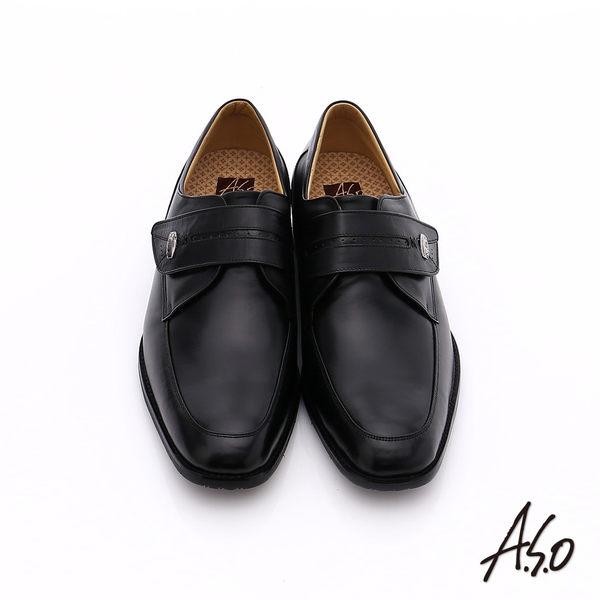 A.S.O 超輕雙核心 牛皮小方楦魔鬼氈奈米紳士鞋  黑