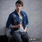 【JEEP】經典美國旗牛仔長袖襯衫 (牛仔藍)