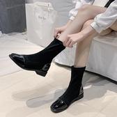 帥氣馬丁靴女英倫風年新款秋冬季網紅百搭加絨短靴彈力瘦瘦靴 伊衫風尚