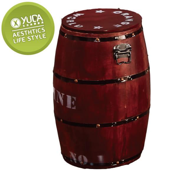 【YUDA】木桶 收納 椅凳-紅色 J8F 490-2