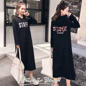 孕婦裝MIMI 別走~P52765 ~休閒愜意STAFF 字母連帽大口袋連身裙長裙