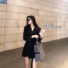 春秋西裝洋裝子高級感chic胖mm炸街顯瘦遮肚2021年早春裝新款潮 設計師