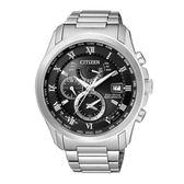CITIZEN 紳士典雅光動能電波時計腕錶/灰黑/AT9080-57E
