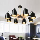 HONEY COMB 北歐風橡木情境吊燈 雙色款 8光源 黑色 TA8226