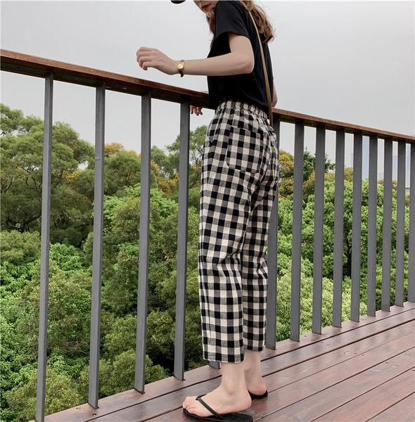 H格子哈倫褲# 夏季休閒哈倫褲女時尚黑白格子透氣松緊腰錐形蘿蔔八九分褲女  &小咪的店&