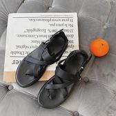 夏季涼鞋男士頭層皮質原宿羅馬涼鞋沙灘鞋英倫搭扣夾腳百搭男鞋cp1114【野之旅】