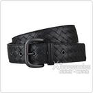 BOTTEGA VENETA編織寬版設計小牛皮釦式皮帶(黑)