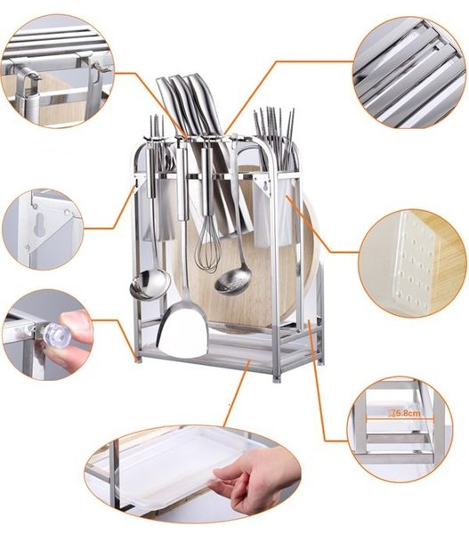 菜板架不銹鋼刀架砧板架菜刀架刀座刀具架廚房置物架收納壁掛用品