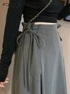 2021早春夏秋季新款垂感裙子設計感小眾a字不規則半身長裙女包臀 貝芙莉