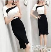 中大尺碼職業洋裝 2020春夏裝修身款短袖OL連身裙性感顯瘦包臀一步裙 DR34838【美好時光】