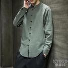 中式唐裝男士長袖襯衫亞麻盤扣衣服中國風復古寬鬆立領襯衣薄 【快速出貨】