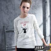 【JEEP】女裝 質感馴鹿圖騰造型長袖TEE  (白色)