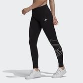 ADIDAS 女款黑色大LOGO健身運動緊身長褲-NO.GM5535