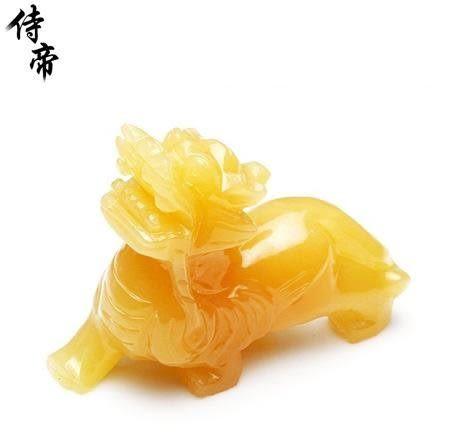 水晶 開光米黃玉龍形貔貅擺件