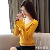 秋季女裝2020新款洋氣加絨長袖V領毛衣女外穿針織打底衫秋冬 OO2057【VIKI菈菈】