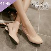 大尺碼女鞋-凱莉密碼-小清新百搭工作鞋好穿楔型低跟鞋3.5cm(41-48)【QZ810-1】米黃