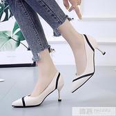 尖頭高跟鞋女2020夏季新款百搭細跟床上性感學生法式少女黑色單鞋  夏季新品