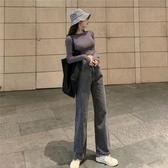 單寧褲新款港味復古網紅同款寬鬆高腰牛仔闊腿褲直筒單寧褲女 伊鞋本鋪