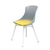 (組)特力屋萊特塑鋼椅-金屬一體成型腳架+灰椅背+黃座墊