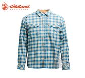 丹大戶外【Wildland】荒野 男彈性抗UV格子長袖襯衫 0A71206-65 湖水藍