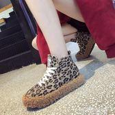 歐洲站女鞋冬羊羔毛豹紋繫帶厚底鬆糕鞋馬丁靴短靴潮解憂雜貨鋪